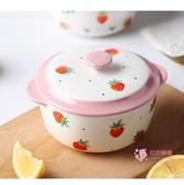 泡麵碗 陶瓷碗單個裝創意可愛泡面碗帶蓋學生宿舍易清洗日式個性簡約湯碗 2色