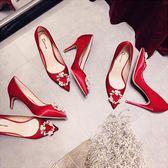 婚鞋女新娘鞋細跟水鉆尖頭高跟鞋【聚寶屋】