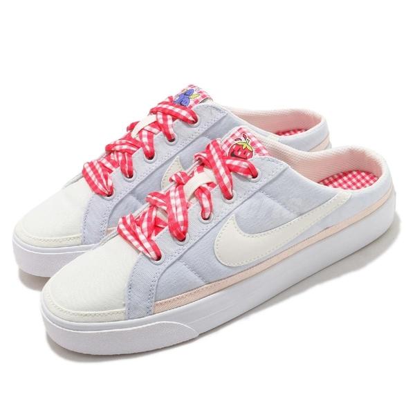 Nike 休閒鞋 Wmns Court Legacy Mule 灰藍 紅 草莓 格紋 女鞋 穆勒鞋 懶人鞋 【ACS】 DJ5058-011
