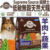 四個工作天出貨除了缺貨》美國紐健士》低敏無穀天然全齡犬糧(羊肉+蔬果)-22lb