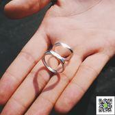 戒指S925銀情侶男女一對刻字學生日韓百搭簡約活口幾何對環  一件免運