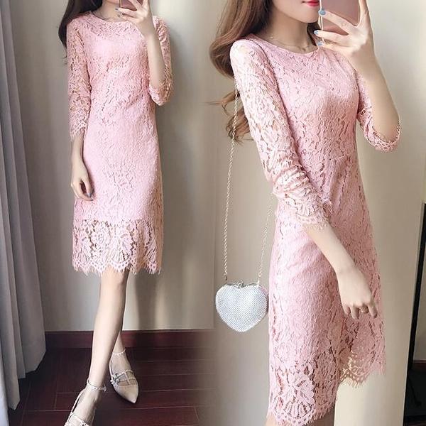 洋裝 蕾絲長袖包臀 婚禮小禮服 韓版 派對連身裙 花漾小姐【現+預購】