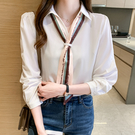 VK精品服飾 韓國風優雅氣質領帶襯衫時尚單品長袖上衣