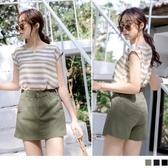 《BA5519-》涼感質感色調皮革三角裝飾短褲褲裙 OB嚴選