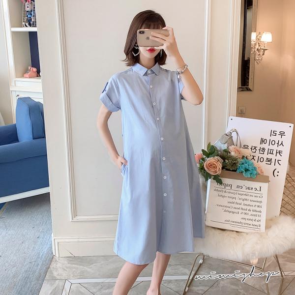 孕婦裝 MIMI別走【P521210】淡淡天藍 雅緻純色襯衫裙 開扣哺乳 孕婦洋裝