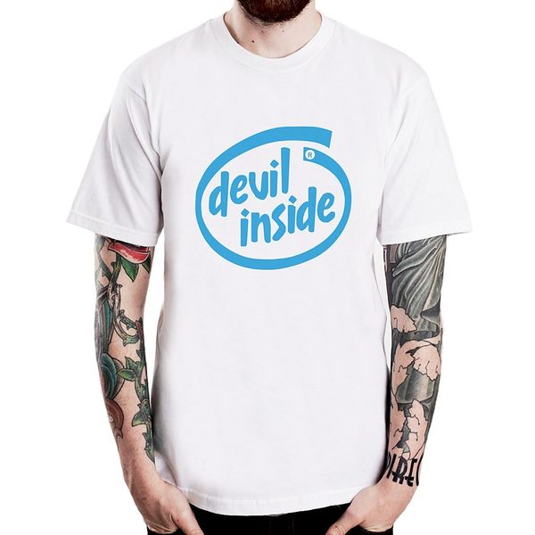 【Dirty Sweet】Devil inside短袖T恤-白色 趣味幽默設計 筒T 現貨 390