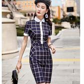 氣質娃娃領配色修身OL連身裙洋裝[8X212-PF]小三衣藏