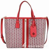 TORY BURCH GEMINI LINK CANVAS 小款塗層帆布兩用包(紅色/新款) 1920396-54