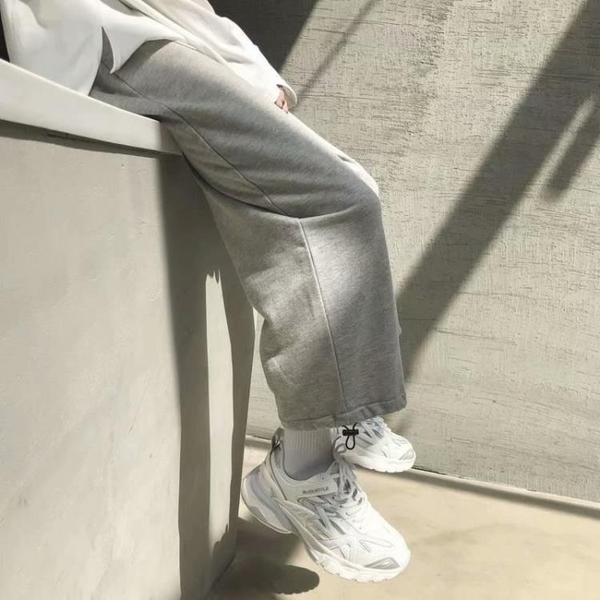 限時優惠 運動褲男春秋季薄款抽繩束腳針織衛褲闊腿寬松直筒籃球休閑長褲子