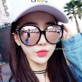 現貨-潮復古T字韓版墨鏡男女太陽眼鏡 炫彩反光大框墨鏡 抗UV400 明星同款復古彩膜黑色白水銀 105