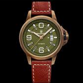 ELEGANTSIS 銅色錶殼綠面數字日期紅色皮帶機械錶x44mm・ELJT55A-NG01LC|名人鐘錶高雄門市