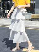 半身裙鈺莎層層蛋糕裙半身裙女夏新款超火的裙子雪紡白色百褶中長裙 限時特惠