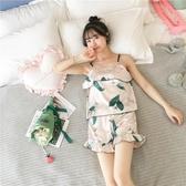 冰絲睡衣夏季薄款絲綢吊帶睡衣女無袖清新可愛冰絲短褲兩件套裝家居服 歐歐