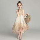 兒童禮服公主裙女童蓬蓬紗花童婚紗裙小女孩走秀主持人鋼琴演出服 快速出貨