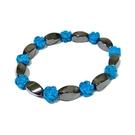 藍松石小玫瑰花與磁性黑胆石轉珠彈性手環...