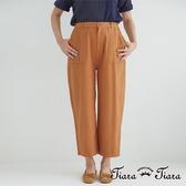 【Tiara Tiara】激安 單色大口袋純棉長褲(藏青/駝)