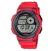 【CASIO】10年電力世界城市野外風格膠帶電子錶-紅(AE-1000W-4A)