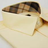 【金‧安德森】經典格紋繞領黃色窄版短袖襯衫