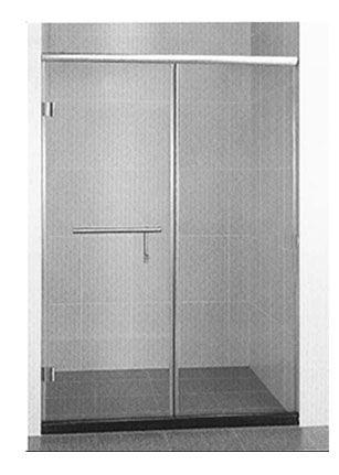 【麗室衛浴】B-049 一字型兩片式外開8mm強化玻璃不鏽鋼鉸鏈無框淋浴拉門 90~150以內*H190CM