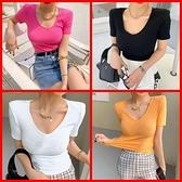 韓系緊身V領顯胸短袖薄款針織上衣 共5色 依米迦