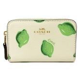 【COACH】檸檬印花ㄇ型單層零錢包(米白/檸檬)