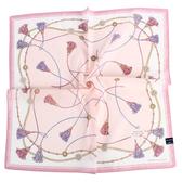 MARIO VALENTINO 結繩流蘇純綿帕領巾(粉紅色)989260-5