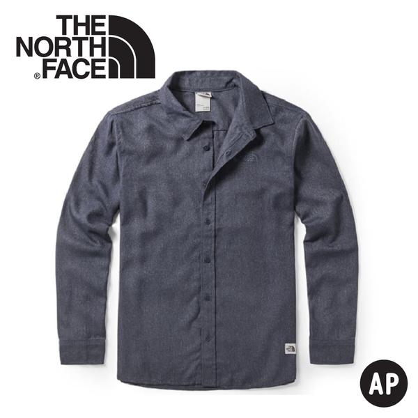 【The North Face 男 法蘭絨長袖襯衫《瀝青灰》】46GE/長袖襯衫/長袖上衣