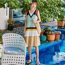 洋裝 韓版拼接V領無袖寬鬆原創潮流連身裙 S-L #mf272 ❤卡樂❤