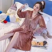 睡衣女春秋冬季珊瑚絨加絨加厚性感睡袍網紅爆款中長款浴袍金絲絨 年終大促