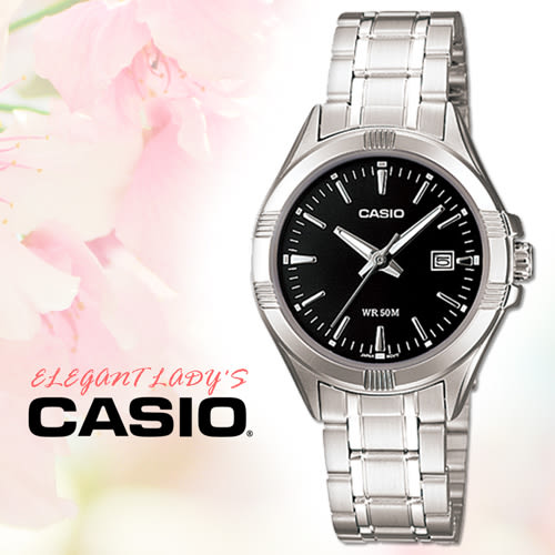 CASIO手錶專賣店 卡西歐 LTP-1308D 黑面女錶 指針表 三折扣不鏽鋼錶帶 防刮玻璃 日期顯示 50米防水