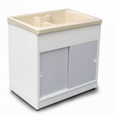 豪華防蟑櫥櫃型洗衣槽-附洗衣板 58x85x85 台灣製造 超大耐用 雙水槽 塑鋼水槽