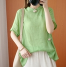 上衣 文藝大碼短袖T恤寬松時尚打結復古風棉麻