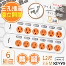【KINYO】12呎3.6M 3P6開6插安全延長線(CW366-12)2入