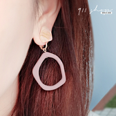 Impish.鏤空不規則圈圈樹脂耳夾/穿針式耳環【he112】911 SHOP