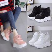 厚底鞋 厚底小白鞋女單鞋內增高秋季新款網面鞋超高跟厚底楔形女鞋韓版運動鞋 聖誕交換禮物