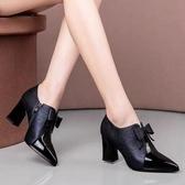 高跟鞋 深口高跟鞋女春秋新款時尚蝴蝶結百搭氣質尖頭軟皮粗跟小皮鞋單鞋 韓國時尚週