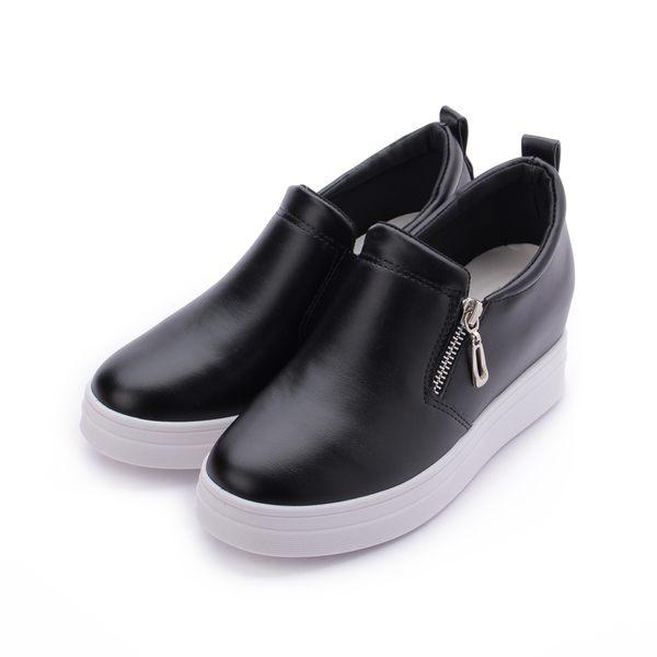 DOOK 拉鍊內增高厚底休閒鞋 黑 女鞋 鞋全家福