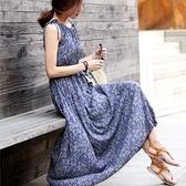 漂亮小媽咪 無袖雪紡長裙 【D5012YB】 無袖 碎花 雪紡 長裙 波西米亞 長洋裝 孕婦連衣裙洋裝 唯美 [