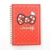 《Sanrio 》HELLO KITTY 緞帶文具系列硬殼線圈筆記本紅★funbox ★_