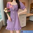 大碼洋裝 胖mm2020夏季法式復古桔梗超仙仙女裙紫色顯瘦方領連身裙 3C數位百貨
