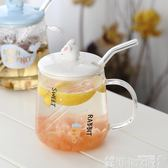 網紅ins玻璃花茶水杯子帶蓋勺帶把家用女韓國清新透明可愛馬克杯 巴黎衣櫃