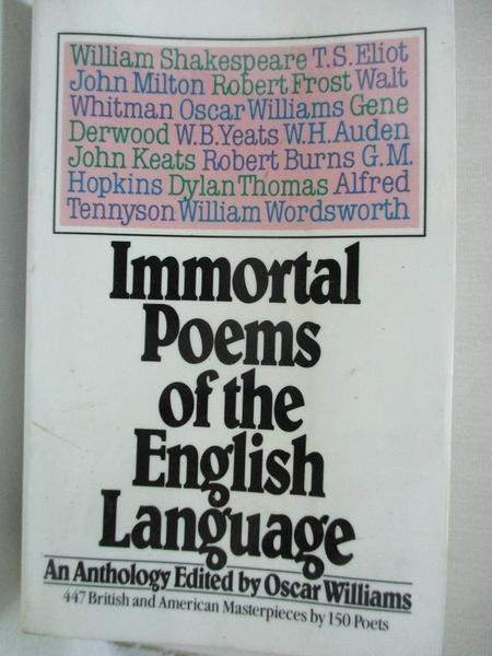 【書寶二手書T4/原文小說_C92】Immortal Poems of the English Language: An Anthology_Williams, Oscar (EDT)