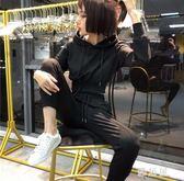 運動套裝 小心機兩件套秋裝女新款時尚連帽衛衣休閑收腰小腳褲運動套裝 LN3048 【雅居屋】