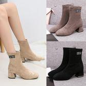 時裝靴2019秋韓版潮時尚絨面短筒短靴高跟鞋粗跟百搭防滑女靴子 KV2952 『小美日記』