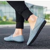 韓版潮流男鞋子一腳蹬帆布豆豆鞋社會布鞋透氣亞麻鞋 可可鞋櫃