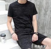 中大碼運動套裝短袖2019新款男夏裝休閒兩件套韓版潮流T恤衣服 QX2973 【棉花糖伊人】