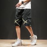 網紅短褲男工裝日系潮男百搭5分五分褲寬鬆沙灘褲加大碼嘻哈褲子