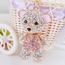 韓國首爾 粉色熊 手工水鑽 包包吊飾 可...