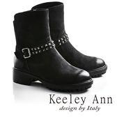 ★零碼出清★Keeley Ann龐克風潮鉚釘腰帶真皮機車短靴(黑色牛麂皮)-Ann系列