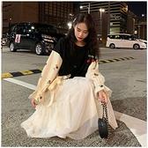 【兩件套】韓繫少女穿搭秋季綁帶寬鬆衛衣 網紗半 朵拉朵